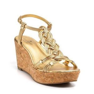 Kate Spade Becca Gold T Strap Wedges